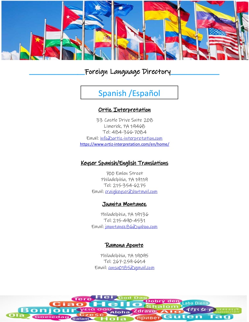 Foreign Language Directory 20210830